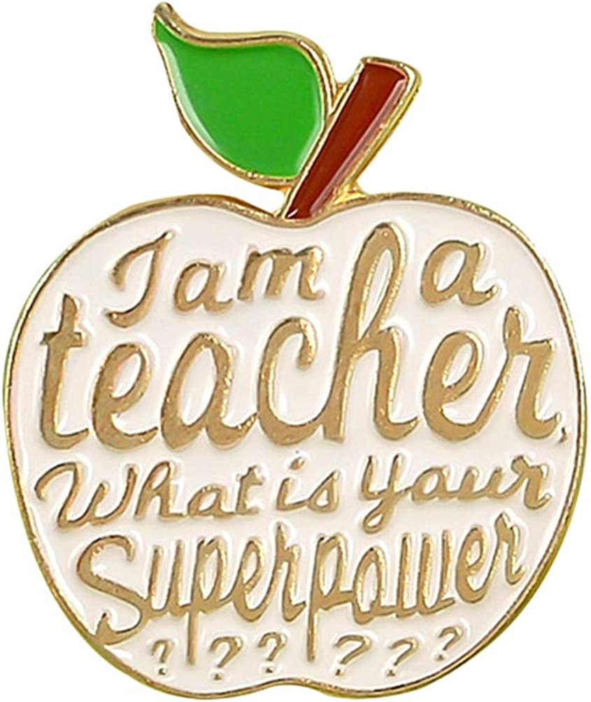 Holibanna Teacher Brooch Letter Enamel Pins Apple Lapel Pins Sweater Clothing Decorative Gift for Girls Women Bag Clothes Jeans