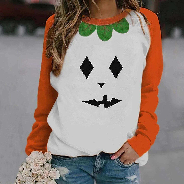 Womens Long Sleeve Tops,Halloween Sweatshirts for Women Casual Long Sleeve Graphic Pumpkin Crewneck Pullover Shirts Sweaters