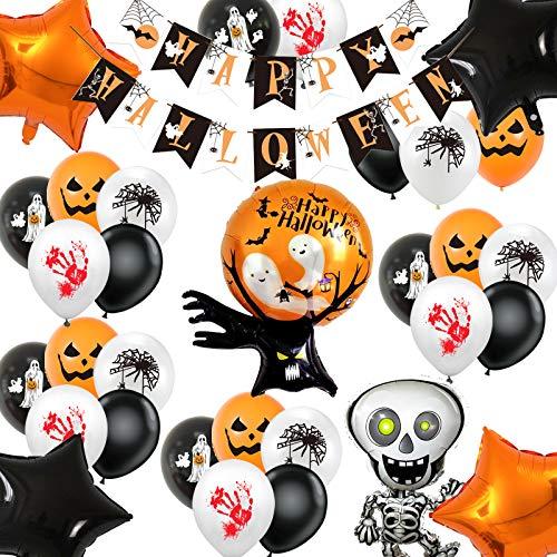 Decorazioni per Feste di Halloween, Happy Halloween Banner Scheletro Fantasma Stella Palloncini in Foil Palloncini in Lattice Fantasma Ragno Zucca per Forniture Bar Feste di Halloween 33 Pezzi
