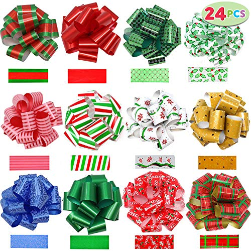 JOYIN 24 Pieces Christmas Gift Wrap Ribbon Pull Bows (5' Wide); Easy and Fast Gift Wrapping Accessory for Christmas Gifts, Bows, Baskets, Wine Bottles Decoration, Gift Wrapping and Decoration Present.
