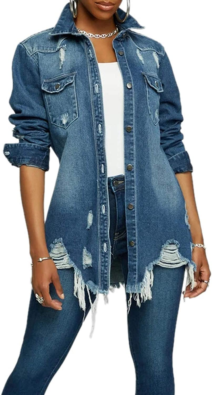 Women's Casual Denim Popular product Jacket Long Popular standard Classic Sleeve Ripped Hole Coat