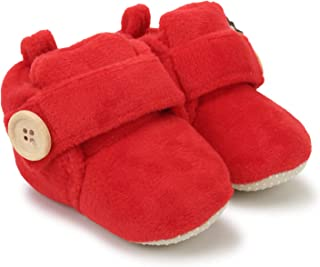 Superminis Baby Girls and Baby Boys Velvet Soft Base Booties/Shoes with Wooden Button