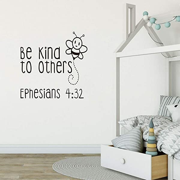 RONGAN Be Kind To Others Quote Wall Decal For Kid Room Kindergarten Cute Bee Vinyl Sticker Girl Boy Nursery Decor Stickers Murau 57x57cm
