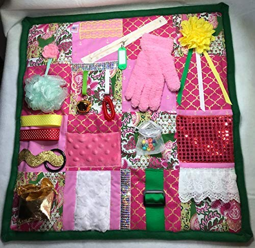 Memory Loss Fidget Quilt/Dementia Toy/Alzheimer's Blanket. Pink w/Dark Green Backing