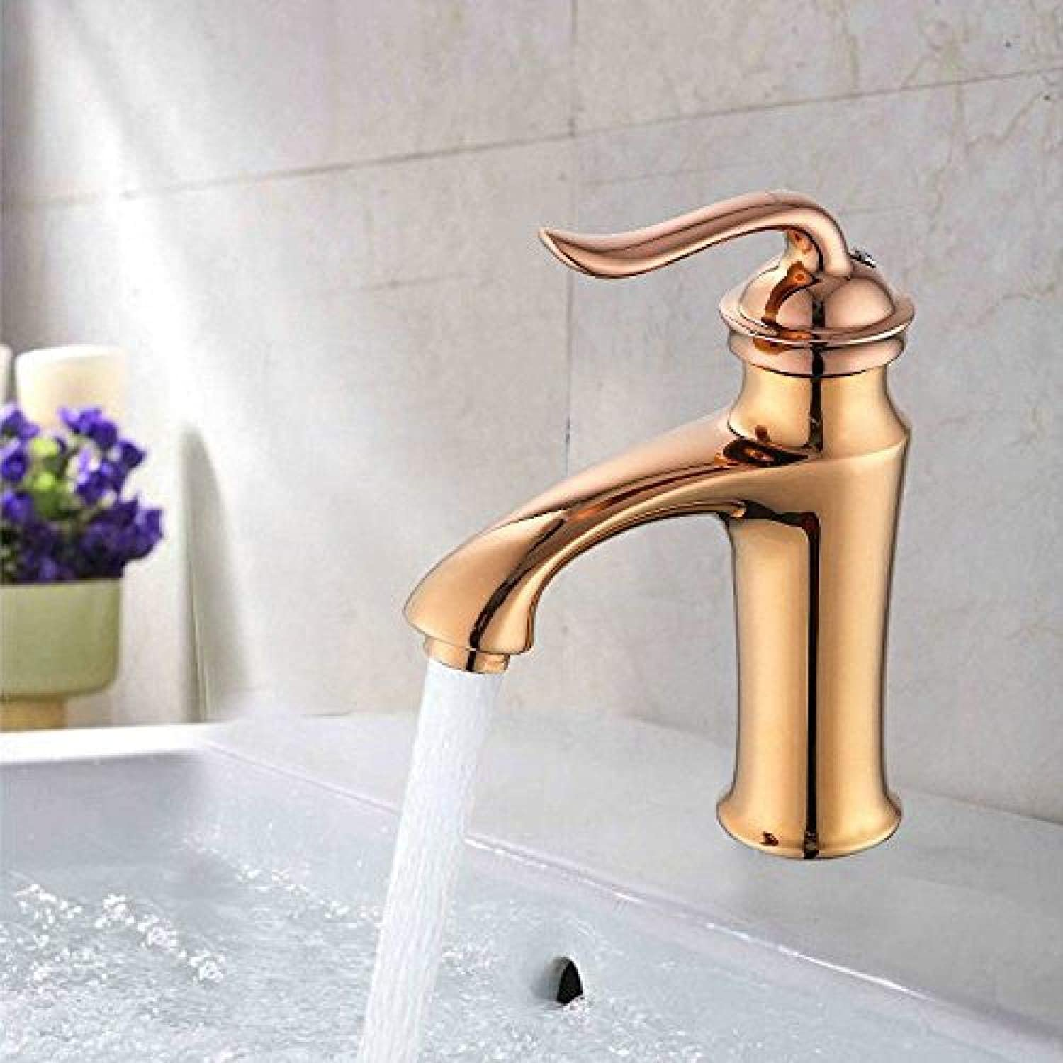 Honcx Faucet Taps Bathroom Sink Faucet Antique Wash Basin Above Counter Basin Faucet Copper Hot and Cold Water Glass Faucet Single Hole Single Handle