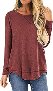 OURS Women's Casual Long Sleeve T-Shirts Cotton Tee Tops Loose V-Notch Short Sleeve Tunic Tops (M, A-Wine Red)