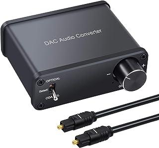 LinkFor 192kHz DAC デジタル(光&同軸)→アナログ(RCA) コンバーター 音量調節でき 光同軸切替スイッチ 3.5mmジャック 光&同軸ケーブル付き