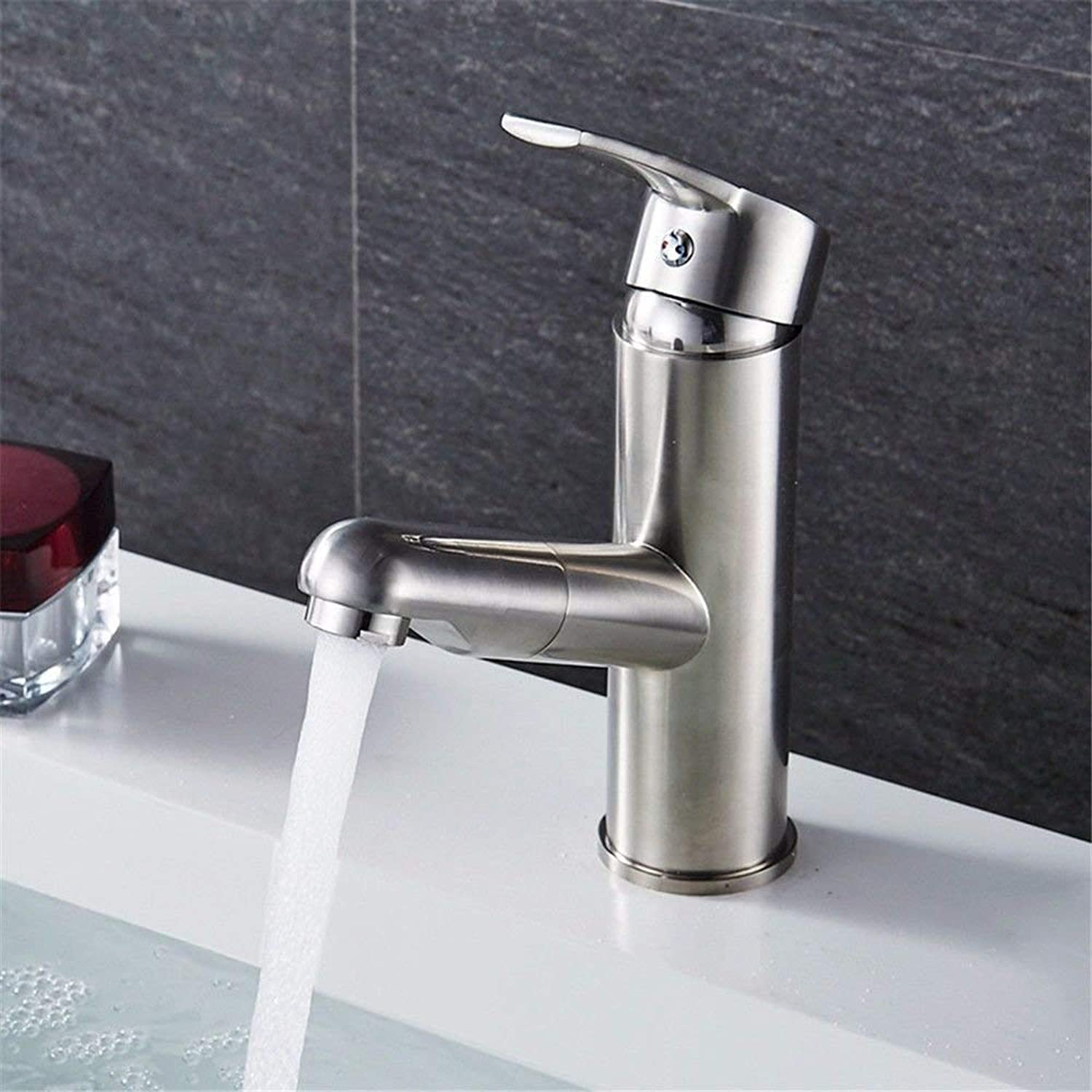 FERZA home Sink Mixer Tap Bathroom Kitchen Basin Water Tap Leakproof Save Water Copper-Nickel Brushed Pull-Down Bathroom Sink Hot And Colds Low) (color   Low Profile)