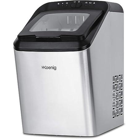 H.Koenig Machine Professionnelle 15kg en 24h KBP40, 2 Tailles de glaçons Automatique électrique Compact Portable Branchement Possible Silencieuse 2,8L, Cube de Glace Rapide prêt en 9min