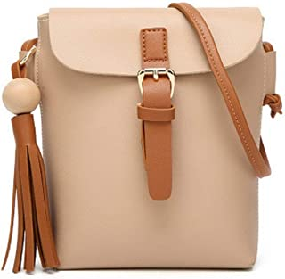 Shoulder Bag Women's Pu Buckle Fashion Casual Shoulder Bags Crossbody Bags Handbag Clutch (Color : Apricot, Size : Taglia Unica)