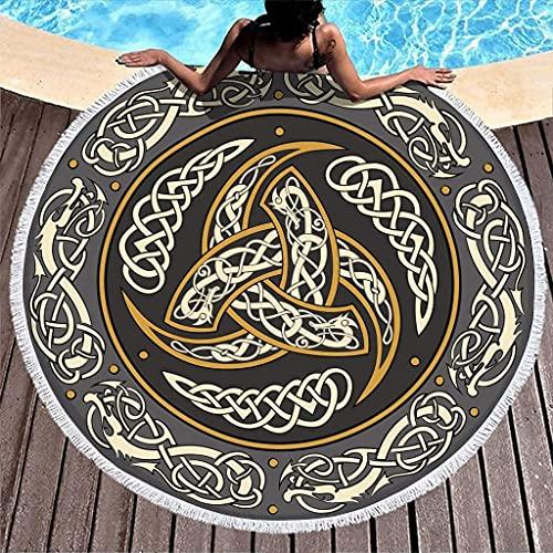 Toalla de Playa Redonda Gruesa con Estampado de Fathurk y Nudo de dragón con Triple Cuerno de Odin Vikingo con borlas, Manta de Playa de Moda de 59 Pulgadas