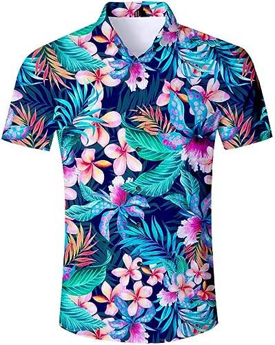 GFRBJK Chemise a Manches Courtes Ete pour Homme Décontracté Chemises Habillées pour Hommes VêteHommests Homme Imprimé Fleur Chemise Plage Chemise