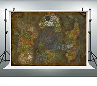 Video Game Vintage World Map Backdrop for Warcraft Theme Party, Prepare Enter Realm War Fans Background, 9x6FT, Photo Booth Studio Props DSLU321