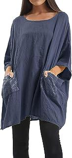 G35 Celebmodelook Italian Sequin Pocket Tunic Plus Size Women Lagenlook Oversized Cotton Batwing Top