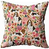 Couch Cushions Basset Hound Florals Almohada Para Perros Cute Dog Design Funda De Cojín Sofá Para El Hogar Ropa De Cama Ropa De Cama Sofá Fundas De Almohada Funda De Almohada Sofá Hogar Throw Pi