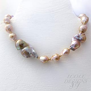 Double Fireball Baroque Pearls with Metallic Luster and Mauve Ripple Freshwater Pearl Necklace