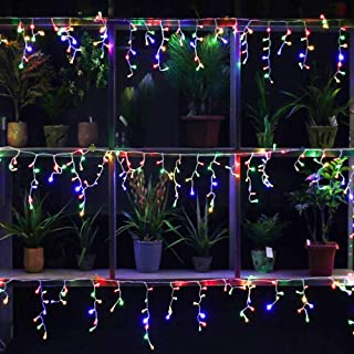 YASENN 300Leds Icicle String Light for Eaves Decoration,Fairy String Lights Low Voltage Fairy Lights for Party,Wedding,Garden,Curtain (300LED 8 Mode, Multicolor)