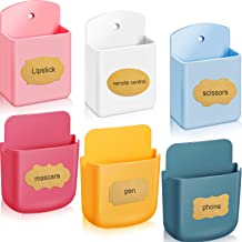 6 Pieces Remote Control Holder Wall Mount Media Storage Box with Adhesive Stickers Nails Self-Adhesive Controller Organize...