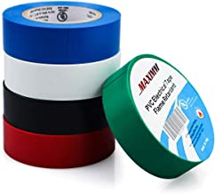 Maximm PVC Vinyl Electrical Tape, 5-Pack Multi-Color, UL Listed, Heat Resistant, Flame Retardant, Waterproof, Black, White, Blue, Red & Green