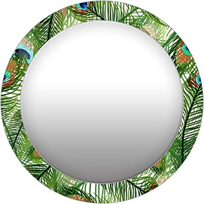 999Store Printed Peacock Feathers Pattern Round Mirror (MDF_24X24 Inch_Multi)