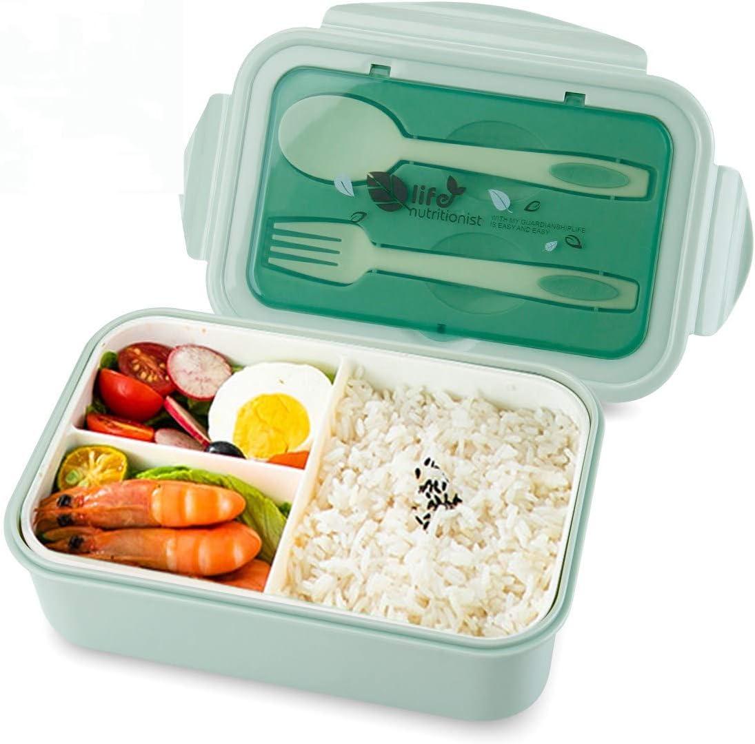 vitutech Fiambrera Bento Box para niños, con 3 compartimentos y cubiertos, apta para microondas y lavavajillas, para el colegio, trabajo, picnic, viajes, sin olor extraño (verde)