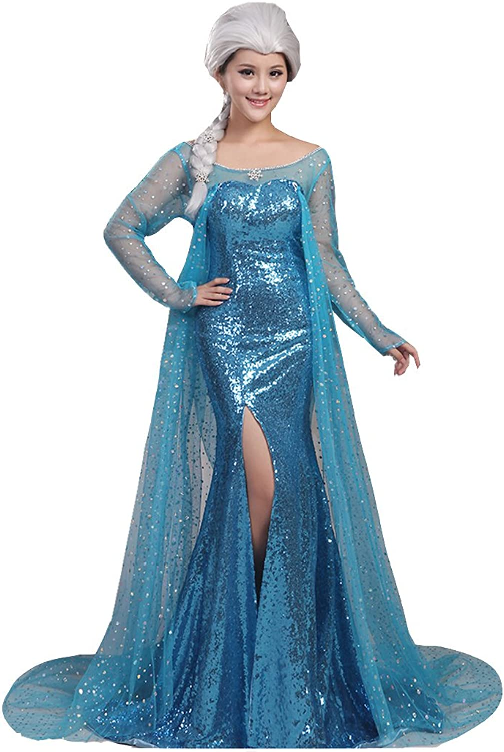Engerla Women's Anime Snow Queen Cosplay Party Beaded Sequines Party Dress