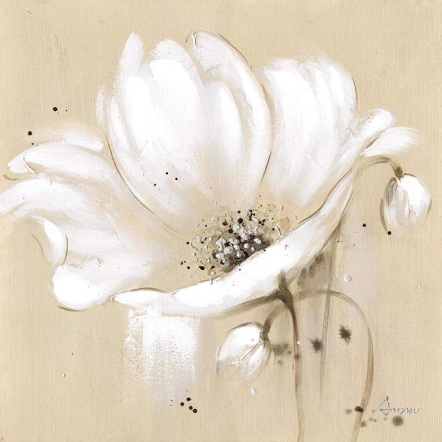 QIAISHI Large Abstract Flowers Canvas Paintings White color Modern Posters And Prints Wall Pictures For Living Room