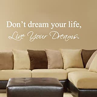 MairGwall Don't Dream Your Life,Live Your Dreams - Art Wall Decals Wall Stickers Vinyl Decal Quote (White, Large)