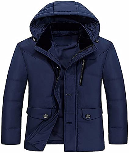 ZHUDJ Men's Down Coat Ordinaire Simple,Sortir Solid-Cotton Occasionnel Quotidien Polypropylène Long Sleeves