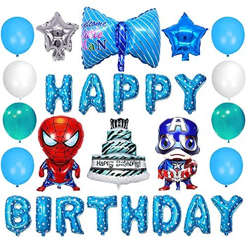 Globo de Película de Aluminio de Cumpleaños de la Serie Hero,se Aplica a Fiestas de Cumpleaños de Niños,Decoraciones de Fiesta