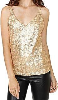 FRPE Women Sequins V-Neck Sexy Slim Fit Spaghetti Strap Sleeveless Tank Top Cami Blouse Shirt