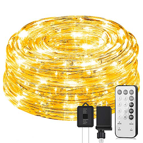 KVK 66ft 200 LED Rope Lights, 8 Mode Strip Light with Remote Connectable, Flexible, Waterproof Indoor Outdoor Tube Light Rope for Gazebo, Wedding, Patio, Home Decor, Garden, Lighting
