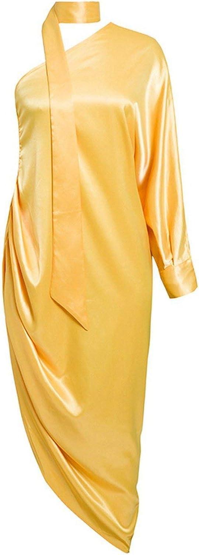 One Shoulder Halter Sexy Women Dress Elegant Satin Long Summer Dress Casual Loose Pleated Ladies Dresses