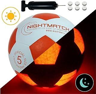 Balón de Fútbol Ilumina Incl. Bomba de balón - LED Interior se Enciende Cuando se patea – Brilla en la Oscuridad - Tamaño 5 - Tamaño y Peso Oficial Blanco/Naranja