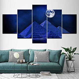 aoyuff 5 Canvas Piece Painting Canvas Wall Art Poster Hd Print Egyptian Pyramids at Night Painting Blue Moon Pictures Modular Living Room Decor Framed,20x35 20x45 20x55cm