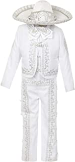 Rain Kids Boys White Rooster Intricate Embroidery 6 Pc Charro Suit 12M-6