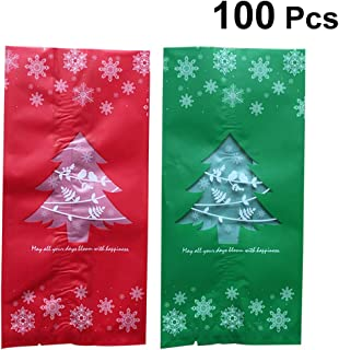 Vosarea 100 pcs Christmas Gift Bag Dull Polish Christmas Tree Patterns Candy Chocolate Gift Treat Bags Xmas Holiday Party Favor (Red Green)