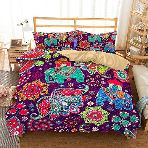Bedding Set 3D Colored Paisley Pattern 4 Pieces,Morbuy Quilt Cover Microfiber Wrinkel Resistant,Includes Duvet Cover with Zipper Closure*1 Pillowcases*2 Flat Sheet*1 (purple,Single-135x200cm)