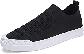 HaiNing Zheng Fashion Skate Sneakers for Men Mesh Upper Comfortable Breathable Casual Walking Shoes Anti-Slip Flat Slip-on Two Tones Round Toe (Color : Black, Size : 6.5 UK)