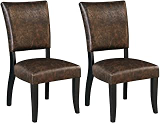 Ashley Furniture Signature Design - Sommerford Dining Side Chair - Set of 2 - Casual - Brown Faux Leather - Black Wood Frame