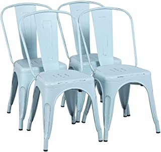 Yaheetech Metal Chairs Stackable Side Chairs Tolix Bar...