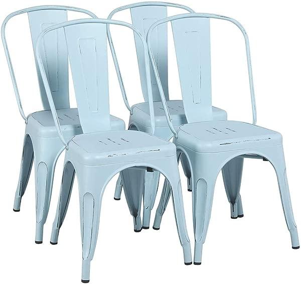 Yaheetech 金属椅子可堆叠边椅 Tolix 酒吧椅子厨房餐厅椅子带靠背室内室外经典别致工业复古小酒馆 Caf 餐厅梦幻蓝 4 件套