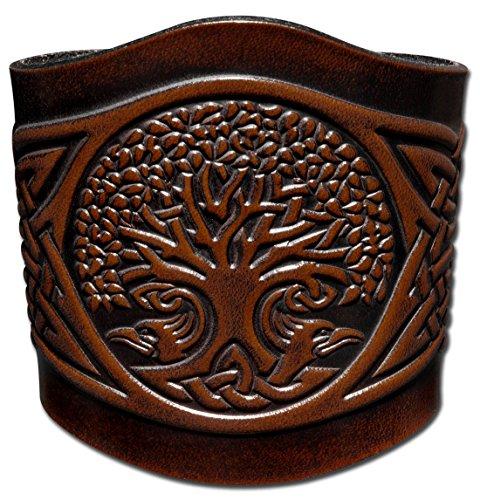 Hoppe & Masztalerz Lederarmband geprägt 80MM aus Vollrindleder Keltischer Lebensbaum in Knoten (6) braun-antik mit Druckknopfverschluss (nickelfrei) (18,5 Zentimeter)