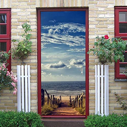 ZDDBD Türtapete Selbstklebend Türposter 3D PVC Türtapeten Blauer Himmel Und Weiße Wolken Innentür Fototapete Tür Dekoration 90 * 200Cm