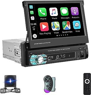 Hodozzy Single Din Stereo Car Play Indash Car Audio 7 Inch Manual Retractable Touchscreen Bluetooth Car Radio Head Unit FM... photo