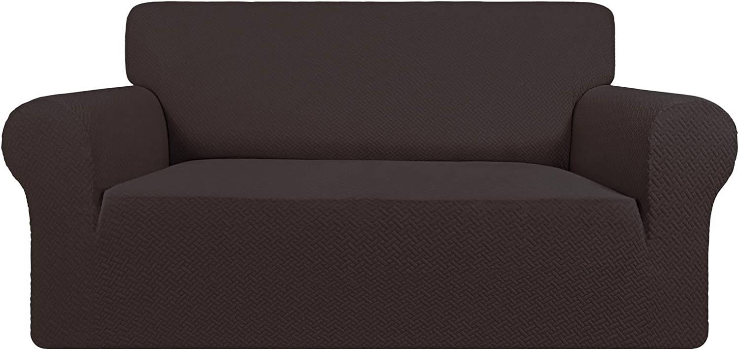 Easy-Going Stretch Jacquard Loveseat Couch Cover, 1-Piece Soft Sofa Cover, Sofa Slipcover with Anti-Slip Foams, Washable Furniture Protector for Kids, Pets (Loveseat, Chocolate)