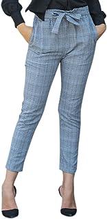 d75a5d02726 Dxlta Pantalones de mujer - Bolsillos de cintura alta Pantalones de cuadros  de tela escocesa con