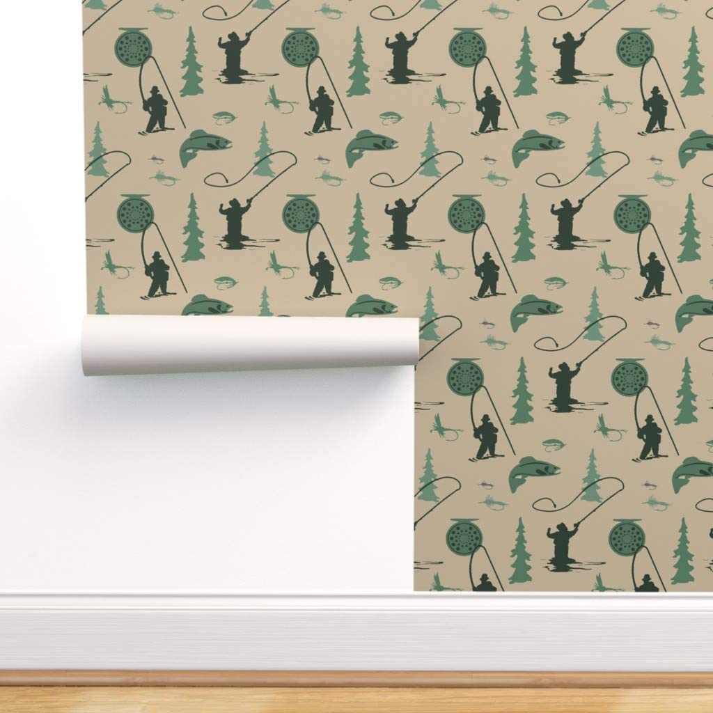 Spoonflower Peel and Stick 直営限定アウトレット Removable Fly Fishing Fish Wallpaper 商舗
