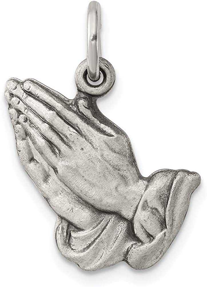 Carat in Karats Sterling Silver Antiqued Praying Hands 20 Charm Max 53% OFF Reservation
