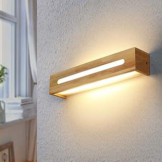 ZMH Lámpara de pared LED Lámpara de pasillo de madera moderna Lámpara de noche 45CM 11W Lámpara de pared blanca cálida para dormitorio Pasillo Escalera Iluminación interior Lámpara de pared interior